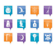 Halloween icon pack  with bat, pumpkin, witch, ghost, hat Stock Photo