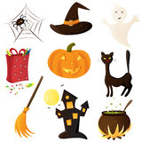 Halloween icon set. Vector illustration: cute Halloween set Royalty Free Stock Photo