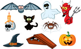 Halloween icon set. Vector illustration Stock Photos