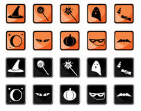 Halloween icon set. Halloween buttons in two color sets vector illustration