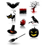 Halloween icon set. Halloween vector elements icon set, collection, with spooky characters Royalty Free Stock Photo