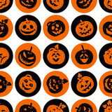 Halloween icon set of cheerful pumpkins.Seamless background.. Stock Photography
