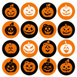 Halloween icon set of cheerful pumpkins.Set of icon. Royalty Free Stock Photo