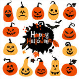 Halloween icon set of cheerful pumpkins.Set of icon. Stock Photography