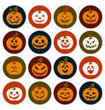 Halloween icon set of cheerful pumpkins.Set of icon. Royalty Free Stock Images