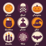 Halloween Icon Set (Moon, Skull, Pumpkin, Cauldron, Tomb, Hat, Candles, Web, Bat Royalty Free Stock Photos