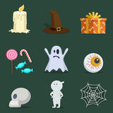 Halloween icon set with party atributes: candy, halloween hat et. Happy halloween party  icon set Stock Photography