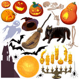 Halloween icon set. Raster illustration Royalty Free Stock Images