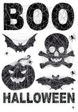 Halloween icon set with spidernet, vector Royalty Free Stock Photo