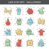 Halloween icon set. Set of 16 thin line style flat icons with a Halloween theme. Graphics are grouped and in several layers for easy editing. The file can be Stock Illustration