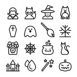 Halloween icon set in thin line style Stock Photography