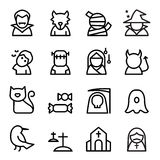 Halloween icon set in thin line style Royalty Free Stock Image
