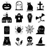 Halloween icon set vector. 16 Halloween icons isolated on white background Stock Photos
