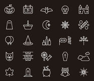 Halloween icon set. Set of white outline icons relating to Halloween on black background Stock Photos