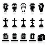 Halloween, iconos del cementerio fijó - el ataúd, cruz, sepulcro Fotos de archivo