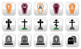 Halloween, iconos del cementerio fijó - el ataúd, cruz, sepulcro Fotografía de archivo