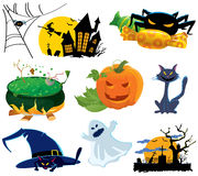 Halloween icons. Set, vector illustration stock illustration