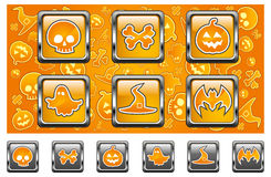 Halloween icons. With skull, pumpkin, bone, hat, bat and ghost in yellow,  illustratiom Royalty Free Stock Photos
