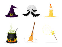 Halloween icons. Set of halloween icons: hat, bats, candle, cauldron, broom and magic wand Royalty Free Stock Photography