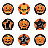 Halloween icons. Halloween star icons with motifs isolated on white Stock Photo
