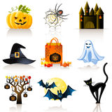 Halloween icons. Set of 9 colorful Halloween icons Royalty Free Stock Image