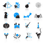 Halloween icons. Set of 16 colorful Halloween icons Royalty Free Stock Photos