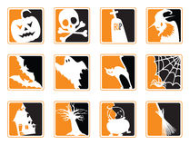 Halloween Icons. Set of Twelve Black and Orange Halloween Icons Stock Photography