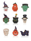 Halloween Icons. Pumpkins, ghosts, monsters, skeleton Halloween icons Stock Photography