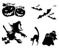Halloween icons. Halloween icon set in black Stock Photography