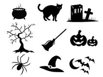 Halloween Icons. Icon illustration of Halloween elements in black and white Royalty Free Stock Images