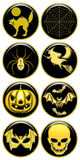 Halloween Icons. Some Golden Glossy Halloween Icons Royalty Free Stock Images