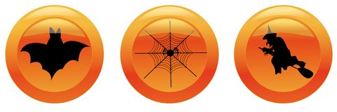 Halloween icons (bat, web, witch) Stock Photo