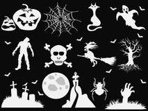 Halloween icons on black background Royalty Free Stock Image