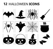 12 Halloween icons Stock Photo