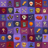 Halloween icons bright seamless pattern Stock Image