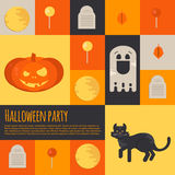 Halloween icons and buttons set. Flat style vector illustration for halloween party. Icons for web, mobile,  party invitations, sale, advertising Royalty Free Stock Photo