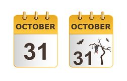 Halloween on icons of calendar in different versions. Stock Photo