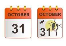 Halloween on icons of calendar. Royalty Free Stock Photos