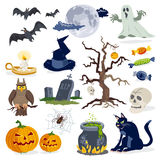 Halloween icons cartoon vector set collection Stock Image