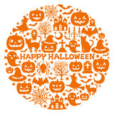 Halloween icons in circle. royalty free illustration