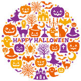 Halloween icons in circle. Royalty Free Stock Photography