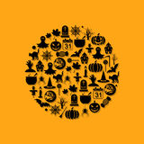 Halloween icons in circle Stock Photos