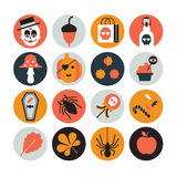 Halloween icons. Collection of 16 Halloween icons Stock Image
