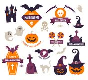 Halloween Icons. Collection of Happy Halloween Icons - Badges royalty free illustration