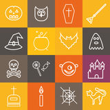 Halloween icons. Collection of white symbols on colored plates. Flat style with long shadows. Vector set. royalty free illustration