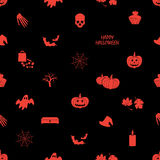 Halloween icons dark seamless pattern Stock Image