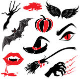 Halloween icons design elements. Vector Halloween design elements with scary symbols Royalty Free Stock Image