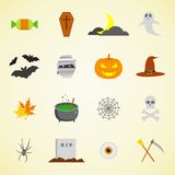 Halloween icons. Flat design Vector Illustration. Halloween icons set. Flat design Vector Illustration Stock Images