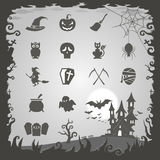 Halloween icons with Halloween background Royalty Free Stock Photos
