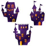 Halloween icons / haunted mansion. Halloween icons by watercolor paint touch stock illustration
